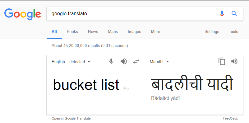 Bucket List Translation
